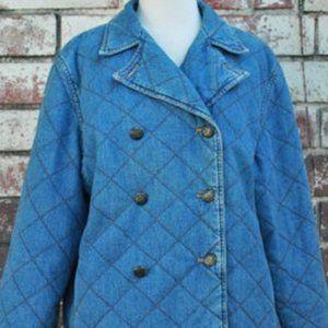 Vintage 90s Ralph Lauren Quilted Denim Pea Coat